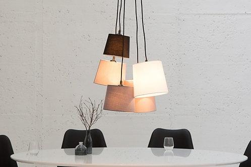 Lampe à suspension design Levels 5 abat-jour en lin blanc/noir/gris 20 cm