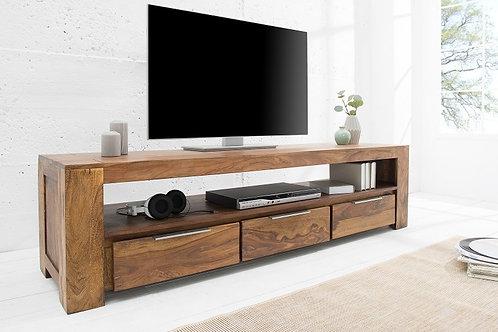 Meuble TV design Makassar bois massif Sheesham 3 tiroirs 170 cm
