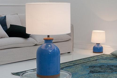 Lampe à poser design Blue Classic céramique/tissu blanc 60 cm