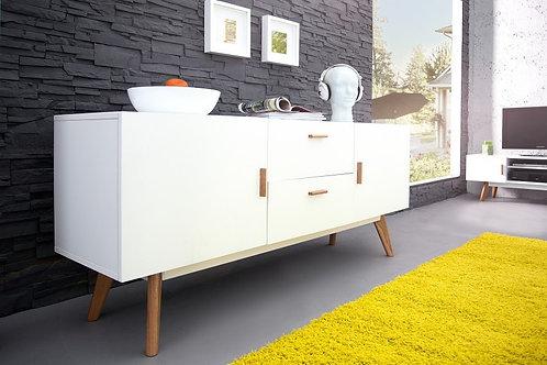 Buffet design Scandinavia bois chêne blanc 2 portes 2 tiroirs 160 cm