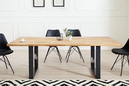Table à manger design Wotan bois de chêne huilé et métal noir 200 cm