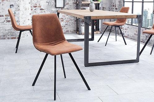 Chaise design Amsterdam métal/velours côtelé marron clair 83 cm