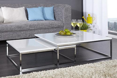 Set de 2 tables basses gigognes design New Elements blanc laquée