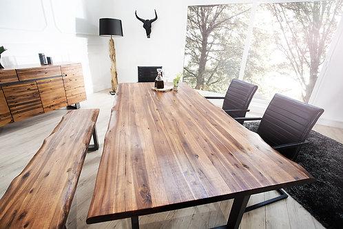 Table à manger design Genesis bois massif acacia / acier 200 cm