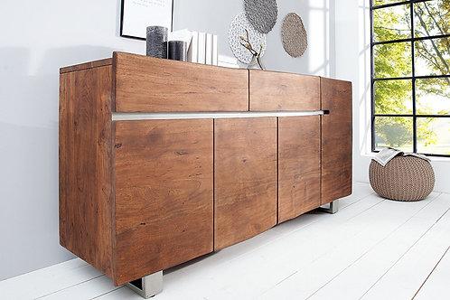 Buffet design Mammut bois massif acacia/brun clair 4 portes 2 tiroirs  170 cm