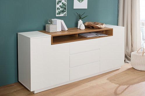 Buffet design Loft blanc/bois 2 portes 3 tiroirs 180cm