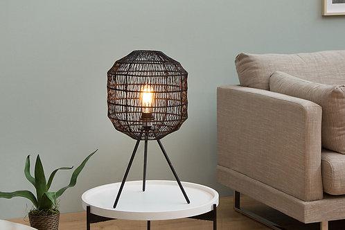 Lampe à poser design Cage métal/papier tressé noir 57 cm