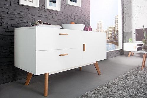 Buffet design Scandinavia bois chêne blanc 1 porte 2 tiroirs 120 cm