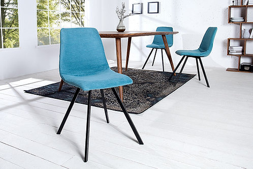 Chaise design Amsterdam métal/velours côtelé turquoise 83 cm