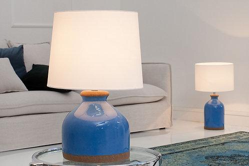 Lampe à poser design Blue Classic céramique/tissu blanc 46 cm