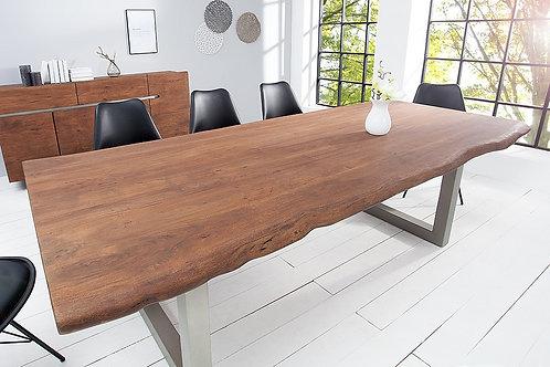 Table à manger design Mammut bois massif d'acacia brun patiné Mat 200cm
