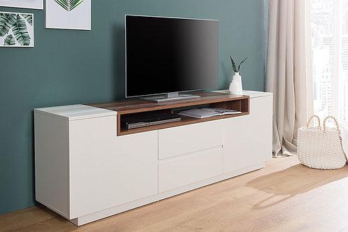 Meuble TV design Loft blanc/bois noyer 2 portes 2 tiroirs 180 cm