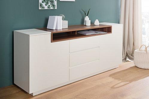 Buffet design Loft blanc/noyer 2 portes 3 tiroirs 180cm