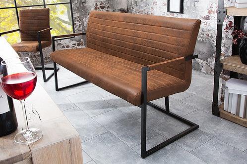Banc design Loft avec accoudoirs vintage brun 160 cm