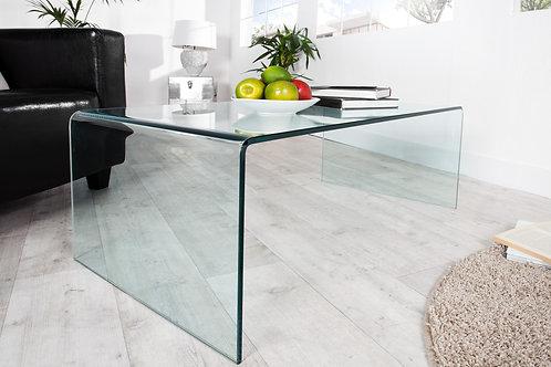 Table basse design Fantome en verre transparent 110 cm