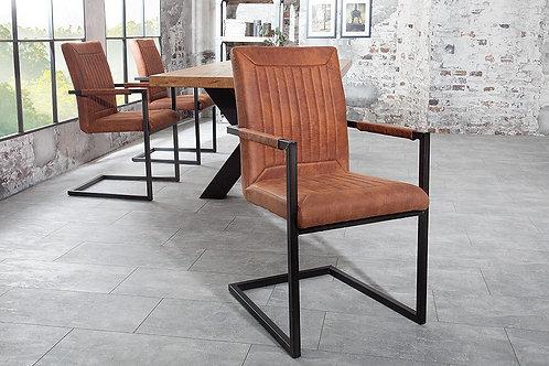 Chaise luge design Bristol vintage brun clair 92 cm
