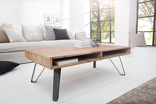 Table basse design Scorpion bois acacia/pieds métal épingle 110 cm