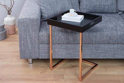 Table d'appoint design Ciano carrée cuivré/noir