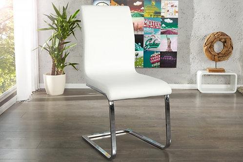 Chaise design Hampton imitation cuir blanc