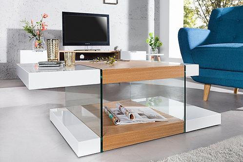 Table basse design Onyx blanc laqué/bois chêne et verre 110 cm