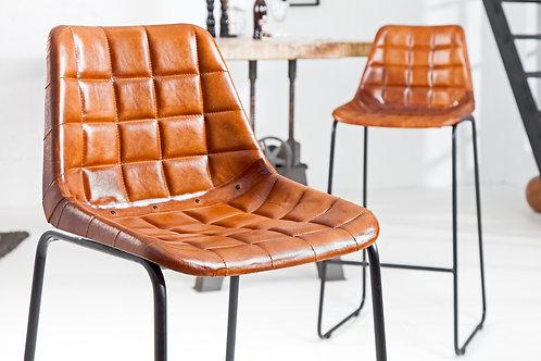 Tabouret design Rider en cuir marron