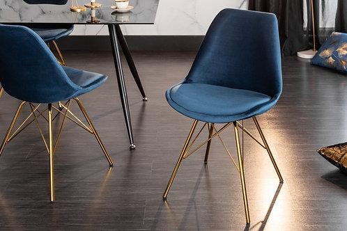 Chaise design Scandinavia retro Or/Bleu foncé