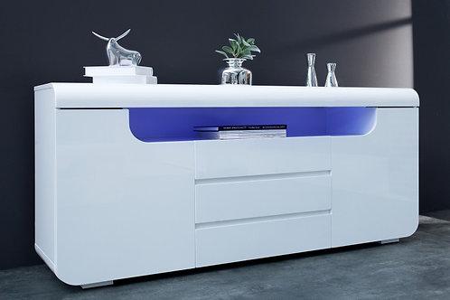 Buffet design Cube à Led blanc laqué 2 portes 3 tiroirs 150 cm