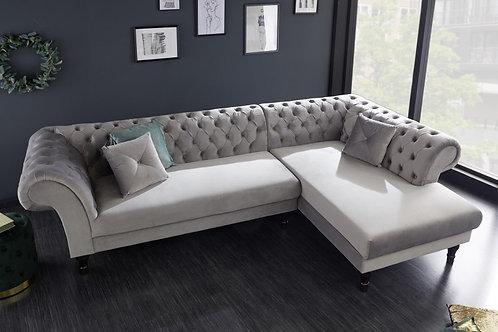 Canapé d'angle Euphoria en velours gris argenté