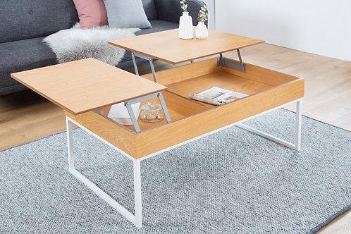 Table basse design Fabric deux plateaux relevables blanc/chêne 110 à 135 cm