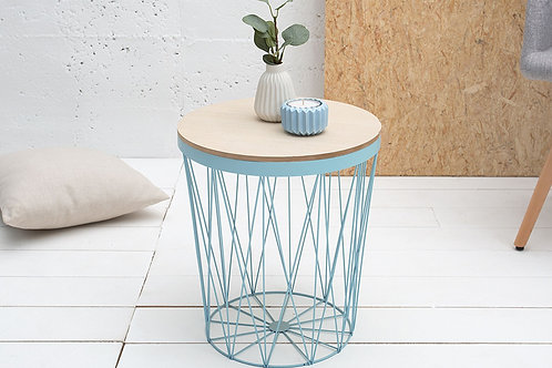 Table d'appoint design Storage métal/bois bleu 43 cm