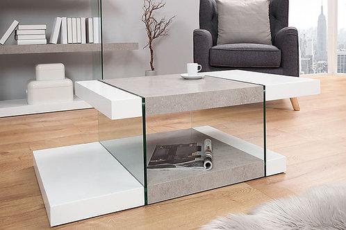 Table basse design Onyx blanc mat/béton et verre 110 cm