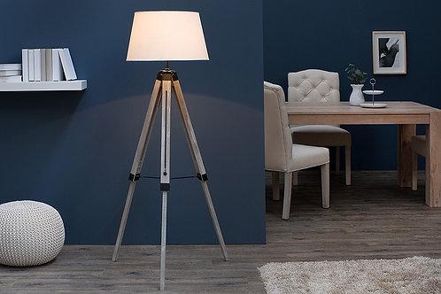 Lampe trépied réglable design Sylt bois massif blanc