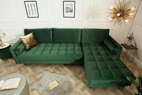 Canapé d'angle Cosy design Velvet velours vert foncé