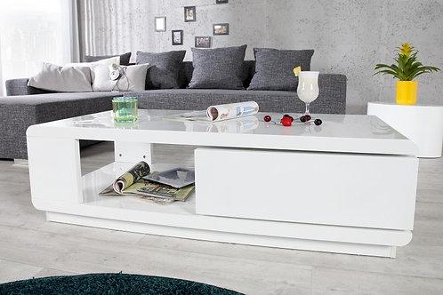 Table basse design Fortuna blanc laqué