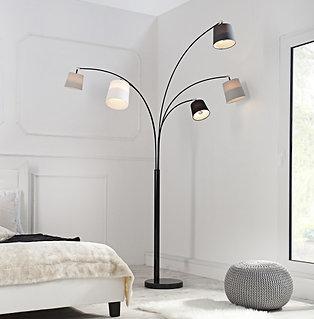 Lampadaire design Levels 5 bras noir et blanc