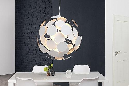 Lampe à suspension design Infinity blanc/argent métal laqué 70 cm