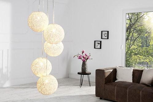 Lampe à suspension design Cocooning 5 perles blanc