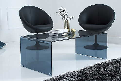Table basse design Fantome verre fumé anthracite 110 cm