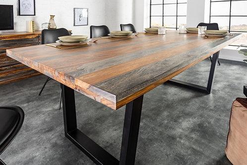 Table à manger Fire & Earth 160cm Gris Sheesham
