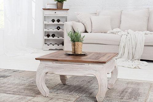 Table basse Fleur bois acajou blanc/nature 60 cm