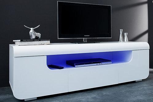 Meuble TV design Cube blanc laqué à Led Connect 50 cm