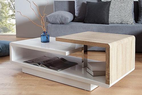 Table basse design Concept blanc laqué/sonoma chêne 100 cm