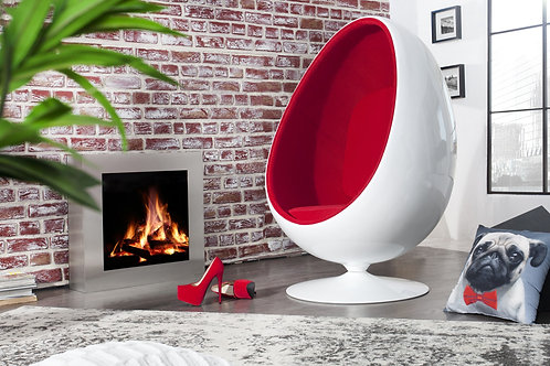 Fauteuil Oeuf design Space blanc/rouge