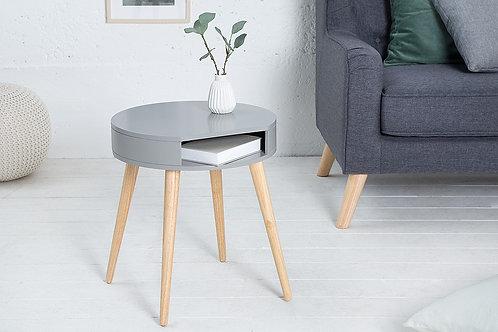 Table d'appoint design Scandinavia avec rangement en bois chêne/gris 50 cm