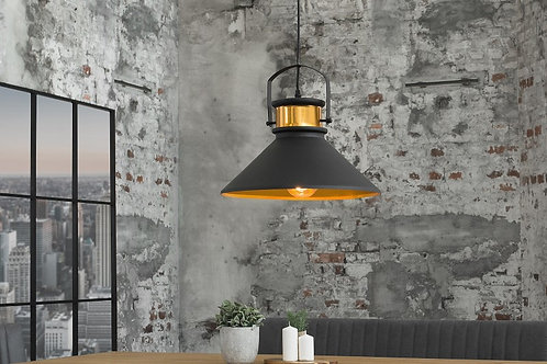 Suspension design Luz en métal noir/or 147 cm