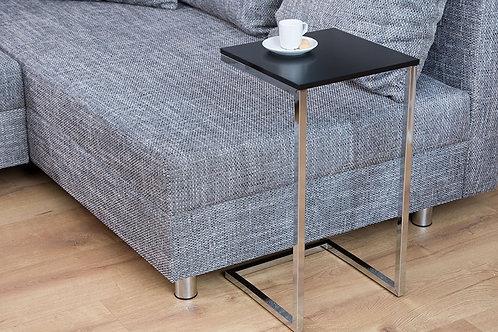Table d'appoint design Simply chromé/noir 61 cm