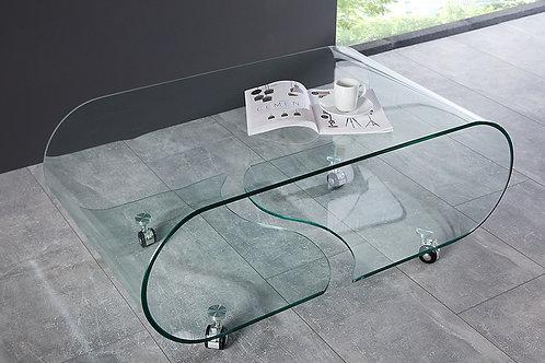 Table basse design Fantome en verre transparent à roulettes 90 cm