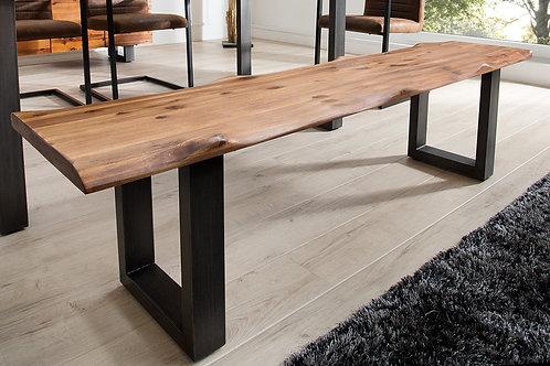 Banc en bois design Genesis massif acacia/acier inox noir 160 cm