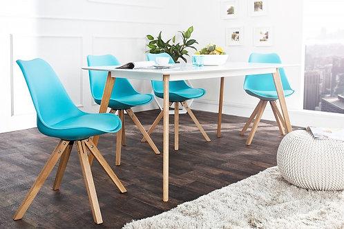 Chaise design Scandinavia en bois massif turquoise