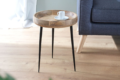 Table d'appoint design Pure métal/bois manguier 45 cm